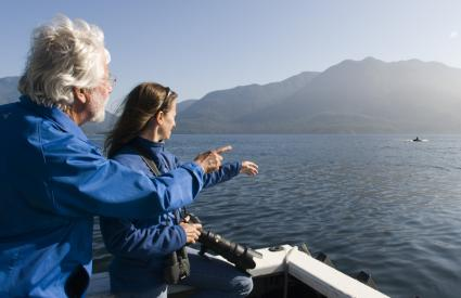 Jean-Michel and Céline Cousteau observe an Orca in Johnstone Strait, British Columbia
