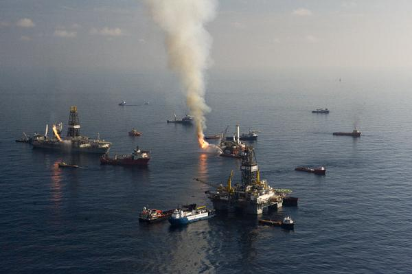 The Gulf in flames as rescue crews attempted to corral oil at the surface and burn it. Photo credit: © Carrie Vonderhaar, Ocean Futures Society