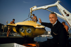 Jacques Cousteau with the diving saucer