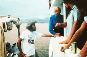 Jean-Michel and Jacques Cousteau during the 1985 Amazon expedition